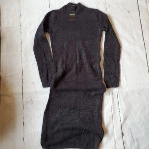 Long fuzzy black sweater dress